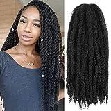 6Packs Marley Hair 24 inch Marley Hair For Twists Long afro kinky Twist Marley braiding hair Extension Synthetic Fiber Marley Braid Crochet Hair (1B#)