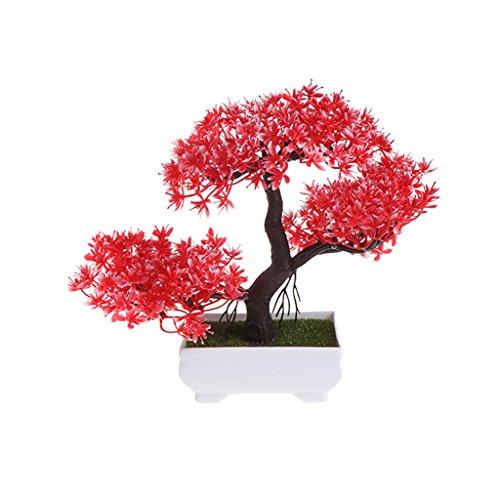Xuniu Emulieren Bonsai, Künstliche Blumen Gefälschte Topfpflanzen Ornamente Hochzeit Dekorative - Rot