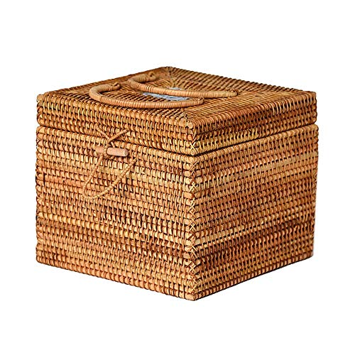 Heding Storage Basket Gift Box Tea Cake Sort Out Rectangular With Lid Handle Hasp   Rattan Hand Made Breathable And Tasteless Beautiful And Durable Desktop (Color : NATURAL, Size : 22X22X19CM)