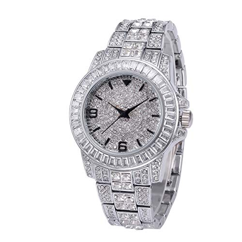 Msxx 2019 Letzte Diamanten-Uhr, Stylish Beautiful Diamond Crystal Waterproof Edelstahlband Full Diamond Watch für Frauen,Silver