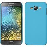PhoneNatic Case kompatibel mit Samsung Galaxy E7 - Hülle hellblau gummiert Hard-case + 2 Schutzfolien