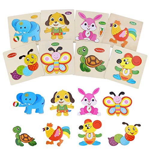 auryee 8 Pack Wooden Jigsaw Puzzles Set for Kids Age 1 2 3 Year, Preschool Animals Puzzles for Toddler Children for Color Shapes Cognition Skill Early Learning Educational Puzzles Toy for Boys&Girls