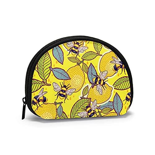 Monedero amarillo limón y abeja jardín mini bolsa de cambio con cierre de cremallera para mujeres y niñas