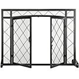 MyGift 1-Panel Lattice Design Metal Fireplace Screen with Magnetic Hinge Doors