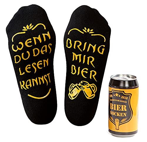 Bier Socken Herren, Bier Geschenk für Männer, WENN DU DAS LESEN KANNST BRING MIR BIER, lustige Socken als Geburtstagsgeschenk,Vatertagsgeschenk für Bierliebhaber (Schwarz-non-Prime)