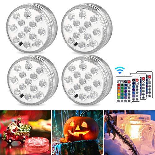 AODOOR Unterwasser Licht, RGB Multi Farbwechsel wasserdichte LED Leuchten für Vase Base Party,Weihnachten,Schwimmbad, Halloween, Weihnachten - 4 Stück