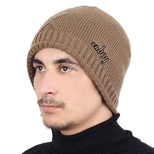 Bonnet Unisexe Chapeau tricoté Homme Beanie Hats, Pièceschaudes Chapeaux d'hiver Chapeaux GS pour Femmes Hommes Épais Coton Hiver Accessoires Femmes Beanie Homme Écharpe @ Khaki