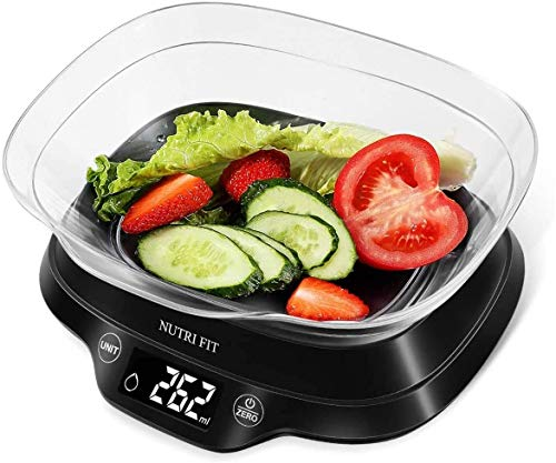 NUTRI FIT Bilance da cucina digitali Bilance elettroniche per alimenti con piastra rimovibile da 1.2L Ampio display LCD Interruttore a pulsante Precisione 1g Capacità 5kg / 11lb (Nero)