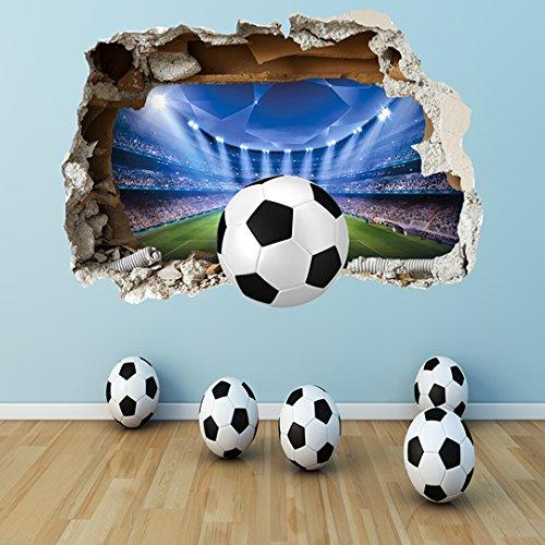 FOOTBALL WALL STICKER - 3D SMASHED BEDROOM BOYS GIRLS STADIUM WALL ART DECAL by worldofwallart
