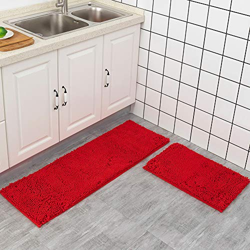 Red Rug for Kitchen Shaggy Chenille Rugs 2 Pieces Set Non Slip Washable Absorbent Runner Rug Set/Kitchen Rugs and Mats/Floor Mat/Entryway Rug/Bath Rug 24x 16 in + 47x 16 in