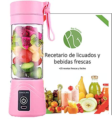 Licuadora portatil, USB recargable para frutas verduras y mas + recetario de regalo.(rosa)