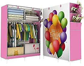 Portable Wardrobe Organizer Curtain Cover With 3d bloom Print