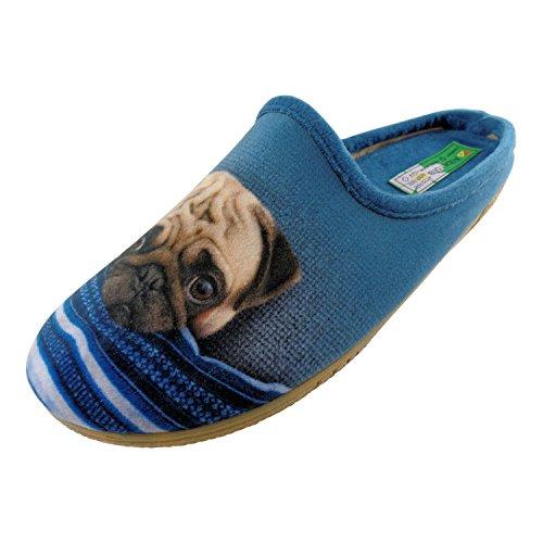 ALBEROLA Hausschuh Pantoffel HELLE Sohle MOPS KUSCHELT MIT Blauer Decke A14040AS - EU 36-42 (38)