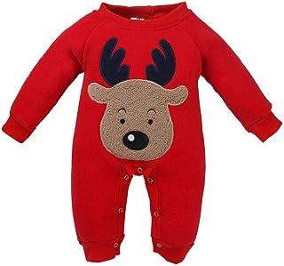 89a32c4e1 QUICKLYLY Navidad Peleles Pijamas Conjunto Bebé Niño Niña Recién Infantil  Elk Largo Manga Mono Ropa