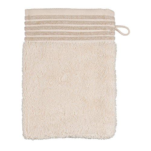 möve Wellness Waschhandschuh Uni mit Chenillebiesen 15 x 20 cm aus 100 % Baumwolle (Spinair), nature