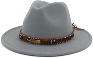 86cff07a05ed1 Vim Tree Men Women Ethnic Felt Fedora Hat Wide Brim Panama Hats with Band