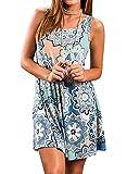 Yidarton Sommerkleider Damen Casual Ärmellos Rundhals Strandkleider Blumen Bedrucktes Trägerkleid Kurz Kleider mit Taschen (Blau, S)