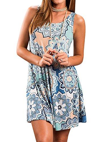 Yidarton Sommerkleider Damen Casual Ärmellos Rundhals Strandkleider Blumen Bedrucktes Trägerkleid Kurz Kleider mit Taschen (Blau, XXL)