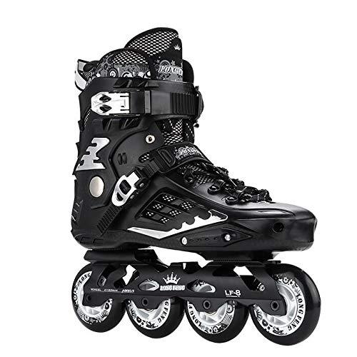 LXLTLB Inline Skates Rollschuh Verstellbare Jungen und Mädchen Anfänger Kinder Komplettset Atmungsaktive Rollschuhe Kinder,Schwarz,43