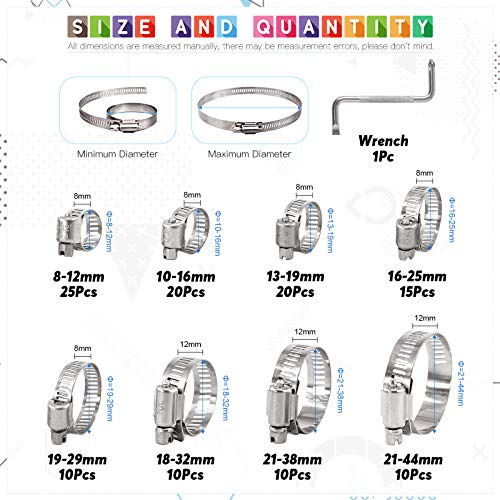 Glarks 120Pcs 304 Stainless Steel Hose Clamps Assortment Kit, Adjustable 8-44mm Range Worm Gear Hose Clamps Fuel Line Clamp for Water Pipe, Plumbing, Automotive and Mechanical Application