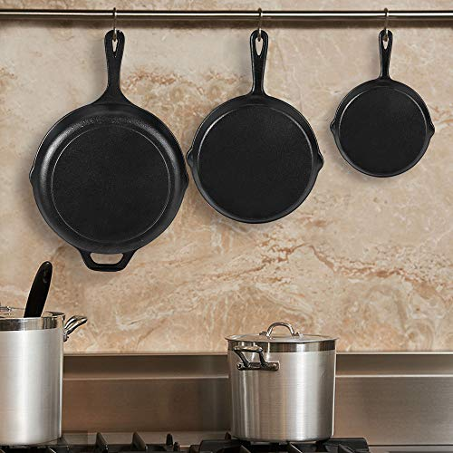 "Pre-Seasoned Cast Iron Skillet Set of 3 | 6"", 8"" & 10"" Cast Iron Frying Pans with 3 Heat-Resistant Holders & Oil Brush - Indoor and Outdoor Use - Oven Grill Stovetop Induction Safe Cookware"