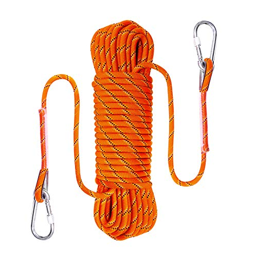 Ecofarwest 100FT 10 mm3/8inBraided Static Rope for Outdoor Rock Climbing Escape Rope Ice Climbing Equipment Fire Rescue Parachute Climbing Swing Tree Mountain Hiking Fishing Rappelling Rope 100