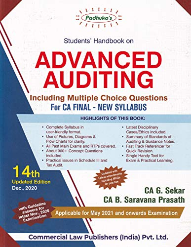 Padhuka's Student's Referencer On Advanced Auditing Including Mcq For Ca Final - 14/E, July 2020