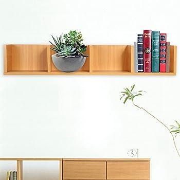 CD/DVD Storage Shelf-Modern Wall Mount Display Shelf CDs/DVDs Organizer Storage Rack Wooden Unit 4 Cases  Wood Color
