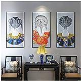 artaslf Impresiones de decoración del hogar Lienzo Modular de Pared Hermosas Chicas japonesas Pintura Imagen nórdica Fondo de cabecera Decoración del hogar-50x70cmx3 Sin Marco