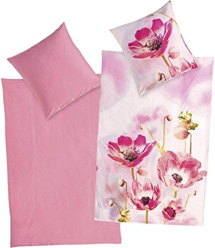 Golden Lutz® Baumwoll-Satin-Bettwäsche mit hochwertigem Foto-Digitaldruck (155 x 220 cm, Floral/pink)   MERADISO