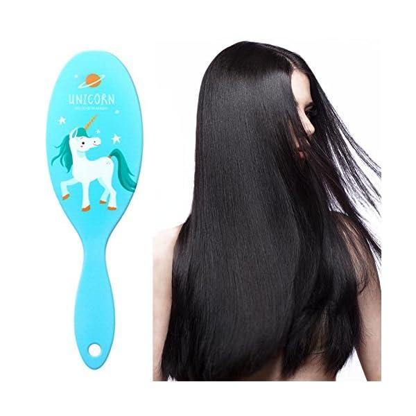 AhlsenL 4 Pack Detangler Hair Brushes, Anti-static Massage Comb Hair Brush for Women Girls Curly Straight Long or Short Hair (Unicorn) 7