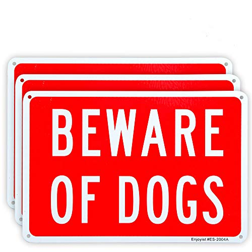3 Pack Beware of Dogs Sign, 10'x 7' .04' Aluminum Sign Rust Free Aluminum-UV Protected and Weatherproof
