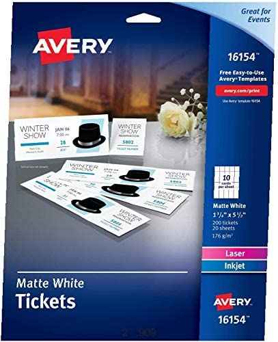 Avery Blank Printable Tickets, Tear-Away Stubs, Perforated Raffle Tickets, Pack of 200 (16154) , White
