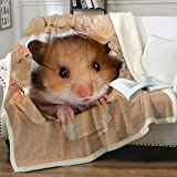 Sleepwish Hamster Blanket for Kids Brown Mouse Plush Blanket Throws 3D Cute Animal Sherpa Fleece Blanket Fuzzy Soft Warm and Cozy Couch Throw Blanket (50' X 60')