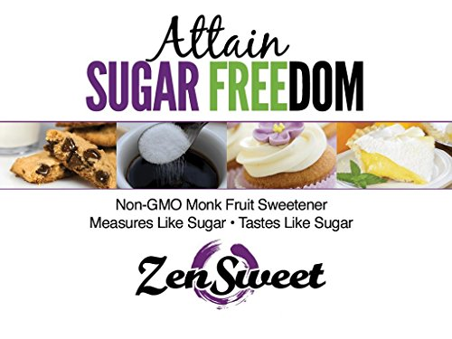 ZenSweet All Natural Monk Fruit Sugar-Free Sweetener - Sugar Substitute, 1 : 1, Zero Glycemic Index, Gluten Free, Paleo & Keto Friendly, Non GMO, Vegan, 3 lbs, 3pk