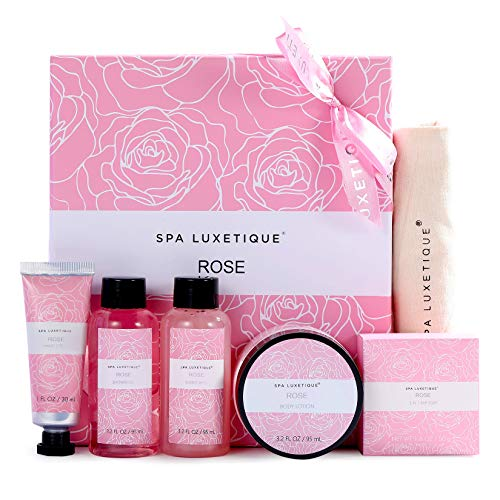 Spa Luxetique Spa Gift Set, 6pcs Rose Bath Gift Set, Gifts for Women,Travel Bag with Hand Cream, Body Lotion, Bubble Bath, Shampoo Bar, Bath Sets for Women Gifts, Gift Sets for Her