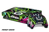 247Skins Designer Skin Sticker for the XBOX ONE X Console With Two Wireless Controller Decals - Frenzy Green