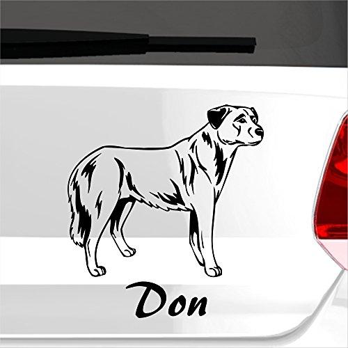 malango® Autoaufkleber Anatolischer Hirtenhund Autosticker Wunschname Hunderasse Tier Tierwelt Aufkleber Sticker ca. 18 x 20 cm brilliantblau