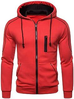 FSSE Mens Plain Hooded Casual Zip Front Athletic Sweatshirt Jacket Coat Outerwear