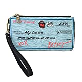 Betsey Johnson Write Me A Check Wristlet, Blue