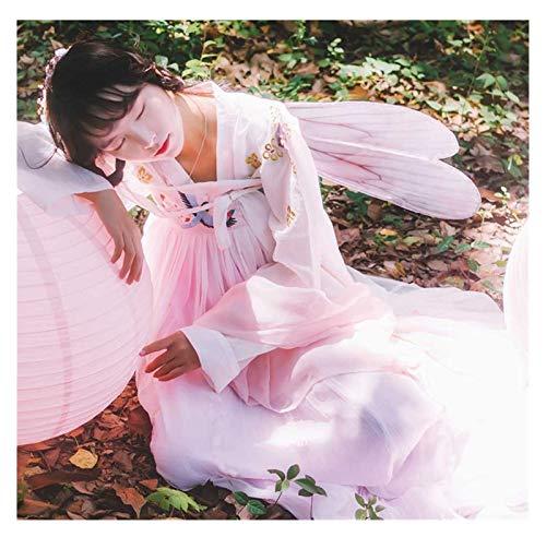 Estilo chino mejorado Hanfu Daily Big Swing fresco y elegante alas traje de hadas falda de pecho completo Super Fairy (color: rosa, tamaño: M)