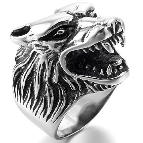 of inblue jewelry designers INBLUE Men's Stainless Steel Ring Silver Tone Black Wolf Head