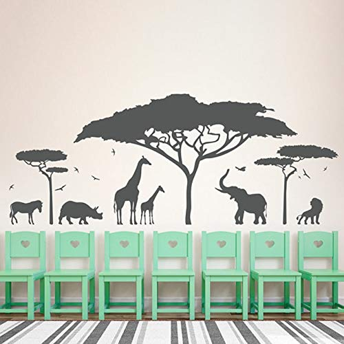 zaosan Wandaufkleber Vinyl wandaufkleber muraux African Safari Zoo Abnehmbare Wandtattoo Schlafzimmer Kindergarten Wanddekorcm 181x72cm
