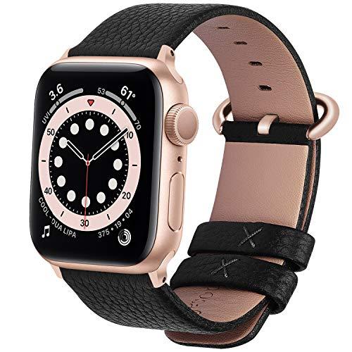 Fullmosa kompatibel mit Apple Watch Armband 44mm 42mm 40mm 38mm Series SE/6/5/4/3/2/1, Leder Ersatzarmband für iwatch original Band,42mm Schwarz+Rosegolg Adapter
