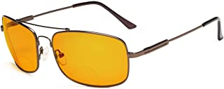 Eyekepper Bendable Memory Frame Blue Blocking Glasses for Sleep-Nighttime Eyewear-Special Orange Tinted Bifocal Reading Glasses for Women Men (Brown, 3.00)