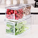 Food Storage Containers Fridge Produce Saver, Stackable Refrigerator Organizer Keeper with Removable Drain Tray for Produce, Fruits, Vegetables 3 Pack
