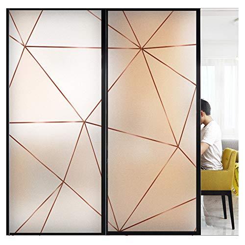 Bluting raamfolie met geometrisch patroon, mat privacysticker, art stijl huisdecoratie, voor badkamer keuken raam, verduistering en anti-UV 45×60cm Driehoek