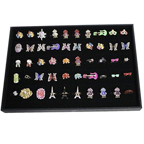 Nalmatoionme 100 Slots Grid Ring Earring Ear Pin Brooch Storage Display Box Tray Jewelry Organizer Holder Case