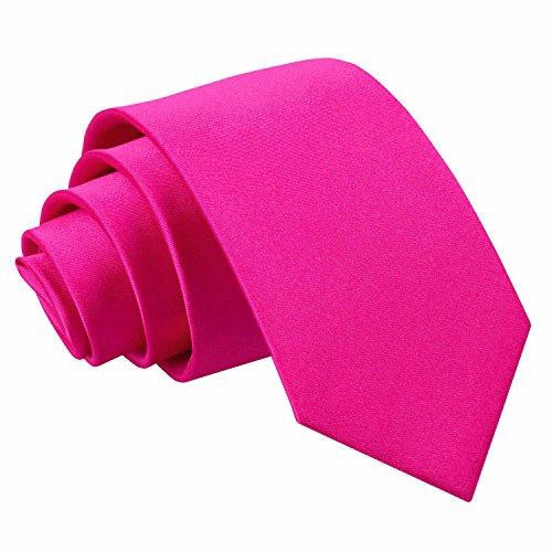 DQT Herren Einfarbig Satin Hochzeit Klassisch Slim 7cm Krawatte - Hot Pink