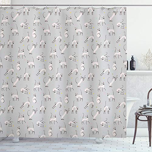 Cat Pattern Shower Curtain Fabric Decor Set with Hooks 4 Sizes
